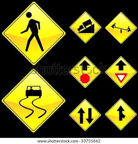 Eight Diamond Shape Yellow Road Signs Set 4 - stock vector