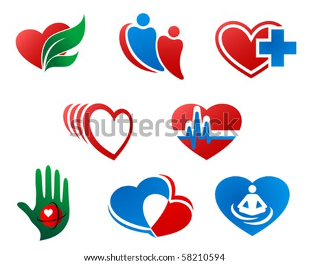 Eight different cartoon heart icons showing healthy living, couple in love, heartbeat or pulse, heart with medical cross, joined overlapping hearts and meditation or yoga. Jpeg version also available