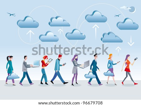 Eight different characters, men and women, access the data in the Internet cloud with different mobile devices (mobile, laptop, tablet) as they walk and are in motion. - stock vector