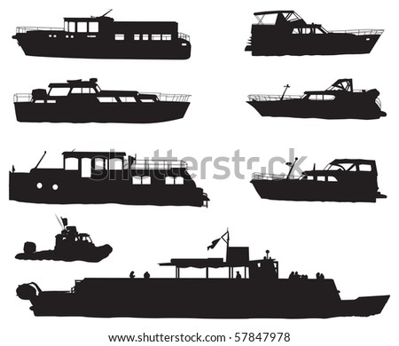 Eight different ship silhouettes isolated on white background. Vector illustration. - stock vector
