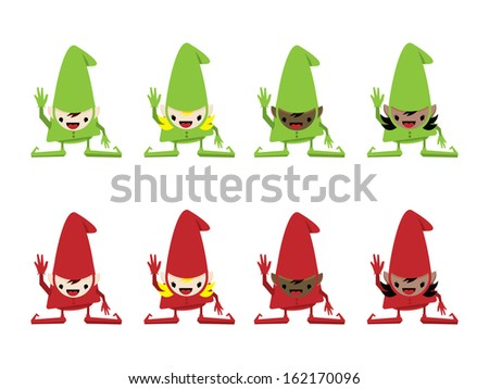 Eight Elves in Green and Red Suits. - stock vector