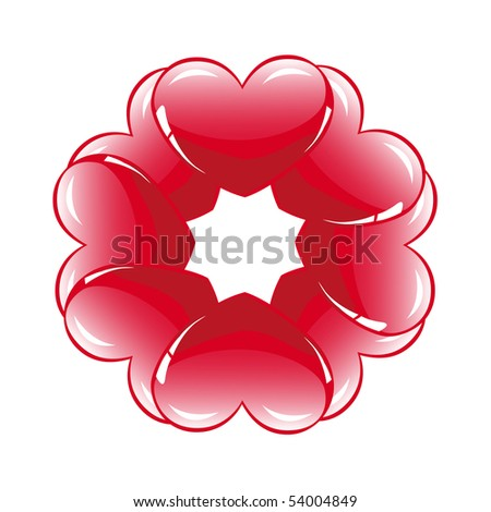Eight glossy hearts in flower shape - stock vector