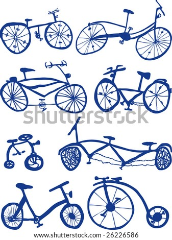 Eight Hand drawn bicycle Doodles - stock vector