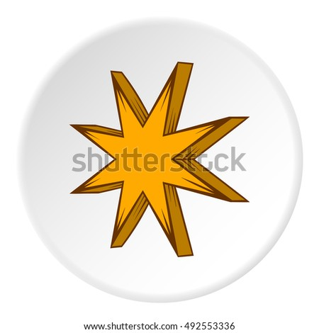 Eight pointed star icon in cartoon style on white circle background. Figure symbol vector illustration