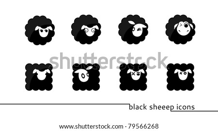 eight round and square shaped black sheep icons