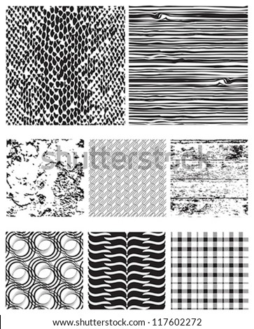 Eight seamless vector patterns for backgrounds, fills and overlays. - stock vector