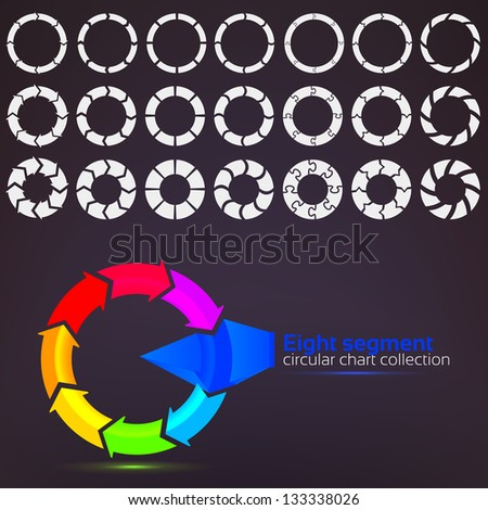 Eight segment graph circular charts clip art set, in seven template design variations and three variations of thickness - stock vector