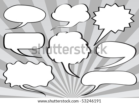 Eight text bubble template set isolated over grey rays background - stock vector