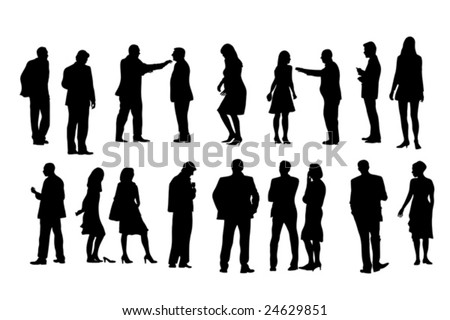 eighteen people silhouettes, vector collection