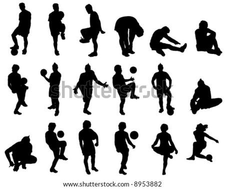 Eighteen silhouette vector images of soccer players.