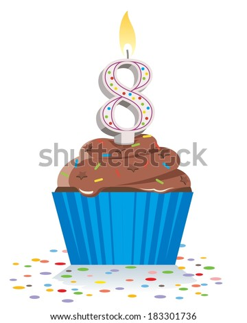 eighth birthday cupcake with lit candle in shape of number eight  - stock vector