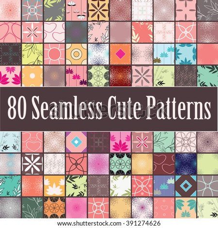 Eighty colorful seamless patterns with floral, geometric and holiday ornaments