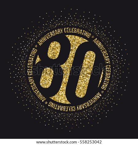 Eighty Years Anniversary Celebration Logotype 80th Stock ...