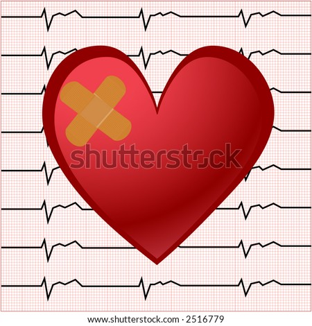 ekg  (bandaid) with smaller square chart behind vector - stock vector
