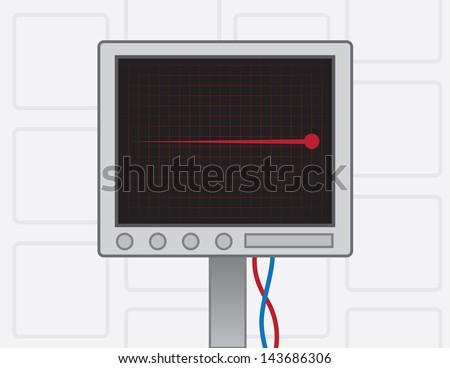 EKG screen with red flatline  - stock vector