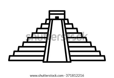 El Castillo pyramid in Chichen Itza line art icon for apps and websites - stock vector