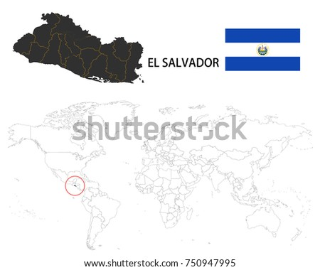 El salvador map on world map stock vector 750947995 shutterstock el salvador map on a world map with flag on white background gumiabroncs Images