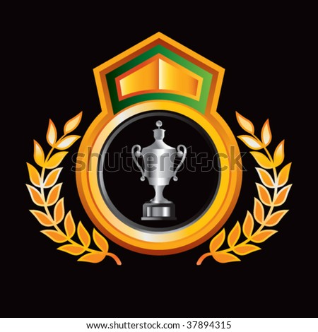 elaborate trophy on royal crest - stock vector