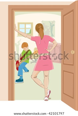 Elder sister angry at his brother guitar hero. - stock vector