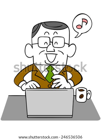 Elderly businessman using a laptop with a smile