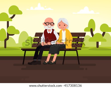 Elderly couple outdoors. Grandparents are sitting on a bench in the park. Vector illustration of a flat design - stock vector