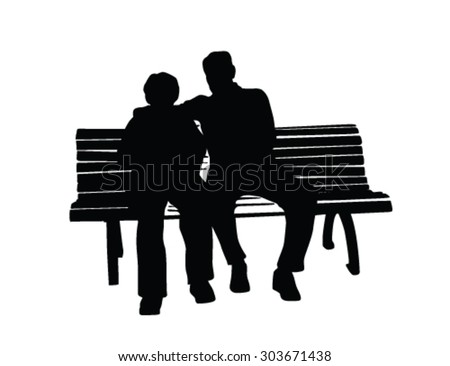 Elderly Couple Sitting On Bench Vector Stock Vector