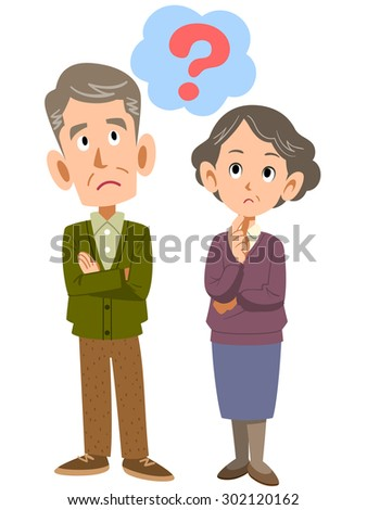 Elderly couple to think - stock vector
