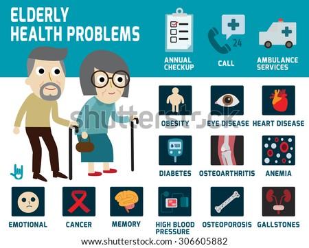 elderly health problems,infographics elements,icons,vector flat cartoon  graphic design.health care concept.illness  illustration. - stock vector