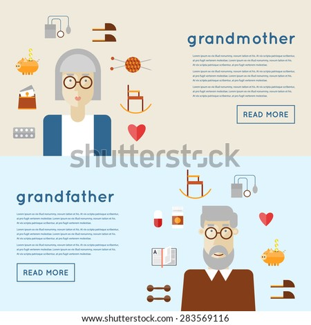 Elderly man and woman grandparents and icons. 2 banners with place for text. Set of icons. Flat design vector illustration. - stock vector
