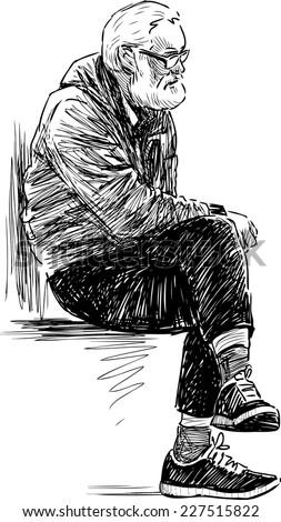 elderly man resting - stock vector