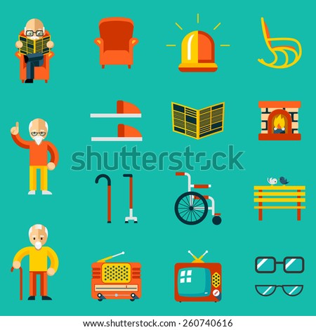 Elderly people icons. Fireplace and newspaper, slippers and bench, radio and tv. Vector illustration - stock vector