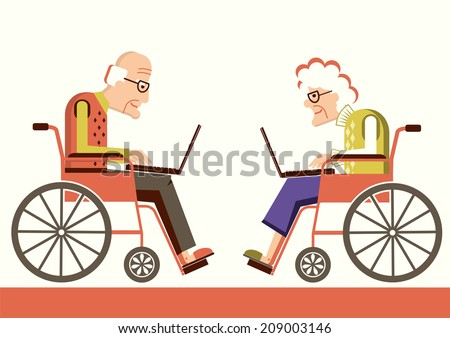 Elderly people in a wheelchairs with laptops.Vector pensioners isolated for design - stock vector