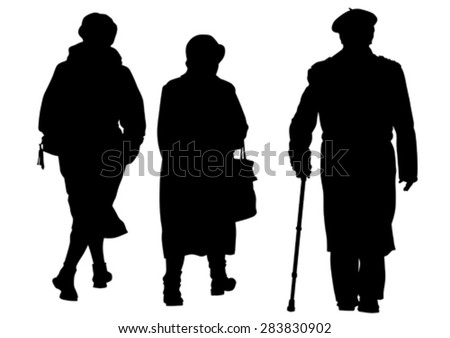 Elderly people with cane one white background - stock vector