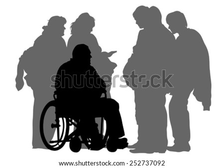 Elderly people with wheelchair on white background - stock vector