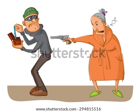 elderly woman aiming a pistol at robber - stock vector