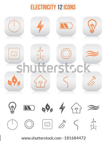 Electicity icons - stock vector