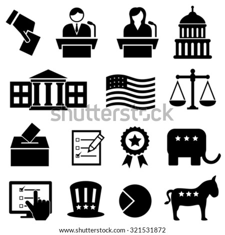 Election and voting icon set - stock vector