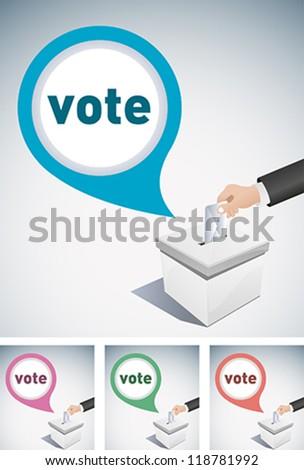 election box and speech bubble - stock vector