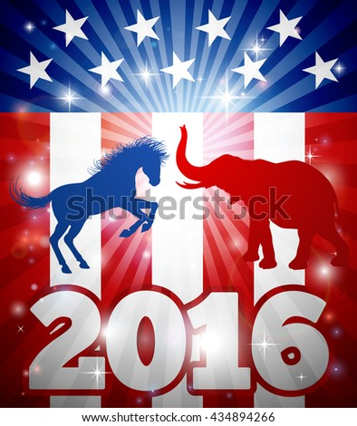 Election concept design of a blue donkey or jackass and elephant party mascots fighting each other with a flag design and 2016 year date. - stock vector