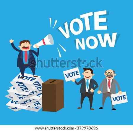 election  concept illustration.man with megaphone standing on ballot papers people voting at ballot box - stock vector