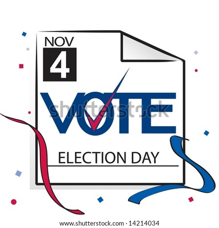 Election day calendar page with vote and checkmark graphic. Vector. - stock vector