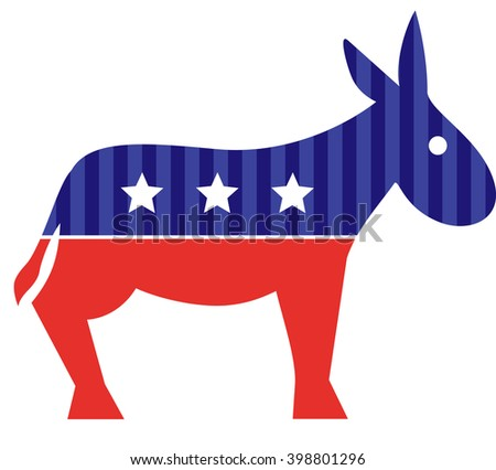 Election donkey. Vote. Isolated on white - stock vector