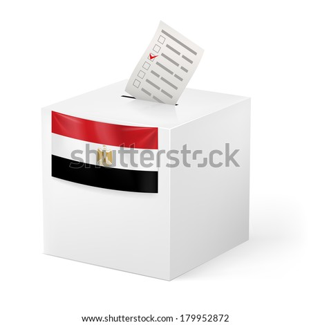 Election in Egypt: ballot box with voting paper on white background - stock vector