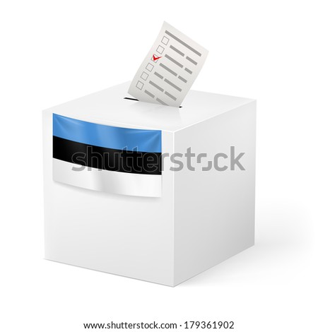Election in Estonia: ballot box with voting paper on white background