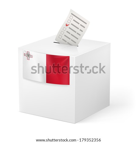 Election in Malta: ballot box with voting paper on white background