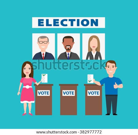 election people concept illustration, man and woman voting at ballot box election candidates - stock vector
