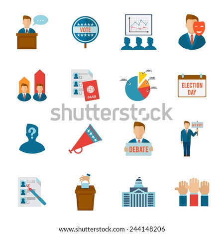 Election political and government voting process icon flat set isolated vector illustration - stock vector