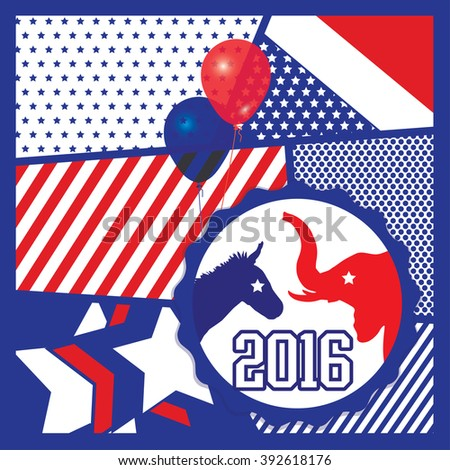 Election 2016 Pop Art Vector Illustration of democrat donkey and republican elephant symbols facing off. Vote for America. - stock vector