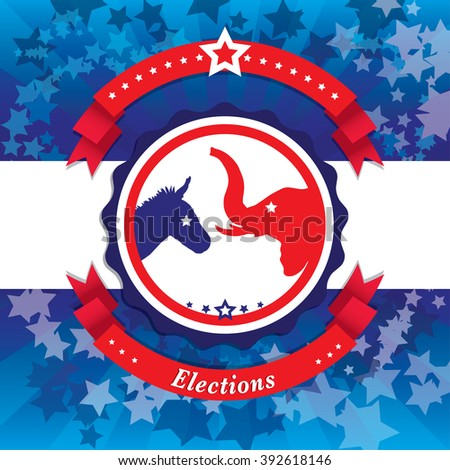 Election Pop Art Vector Illustration of democrat donkey and republican elephant symbols facing off. Vote for America. - stock vector