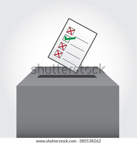 Election vote ballot with options and paper cut effect with vote box - stock vector